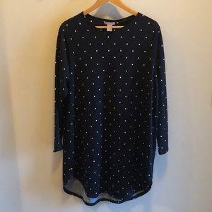 Black and white polka dot long sleeve tunic